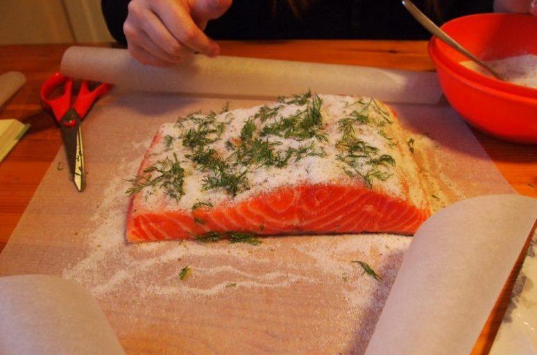 Curing salmon